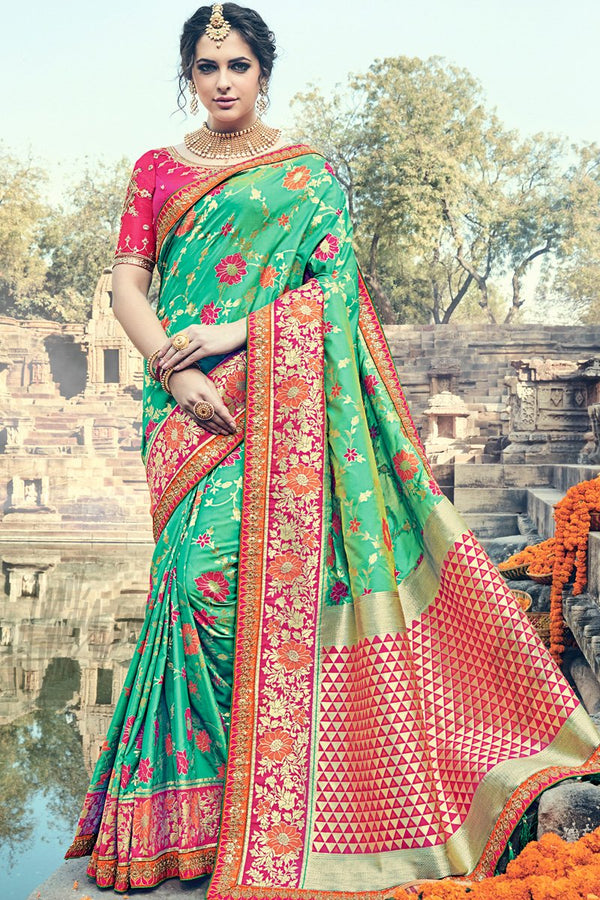 Indi Fashion Sea Green and Magenta Banarasi Silk Saree
