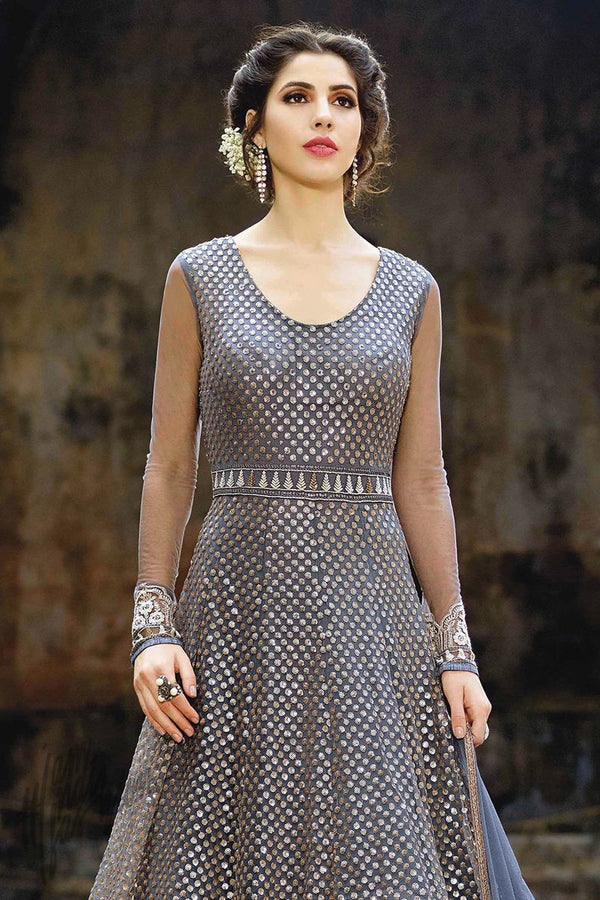 Indi Fashion Blue and Silver Net Floor Length Party Wear Suit