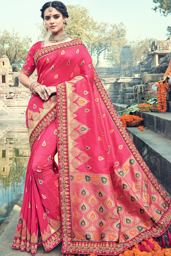 Indi Fashion Pink Banarasi Silk Saree