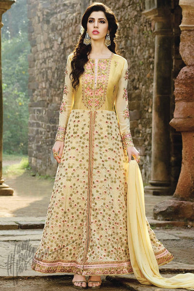 Indi Fashion Light Yellow Net Ankle Length Party Wear Suit