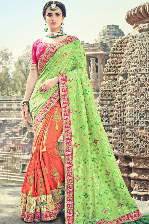 Indi Fashion Green Peach and Magenta Half and Half Banarasi Silk Saree