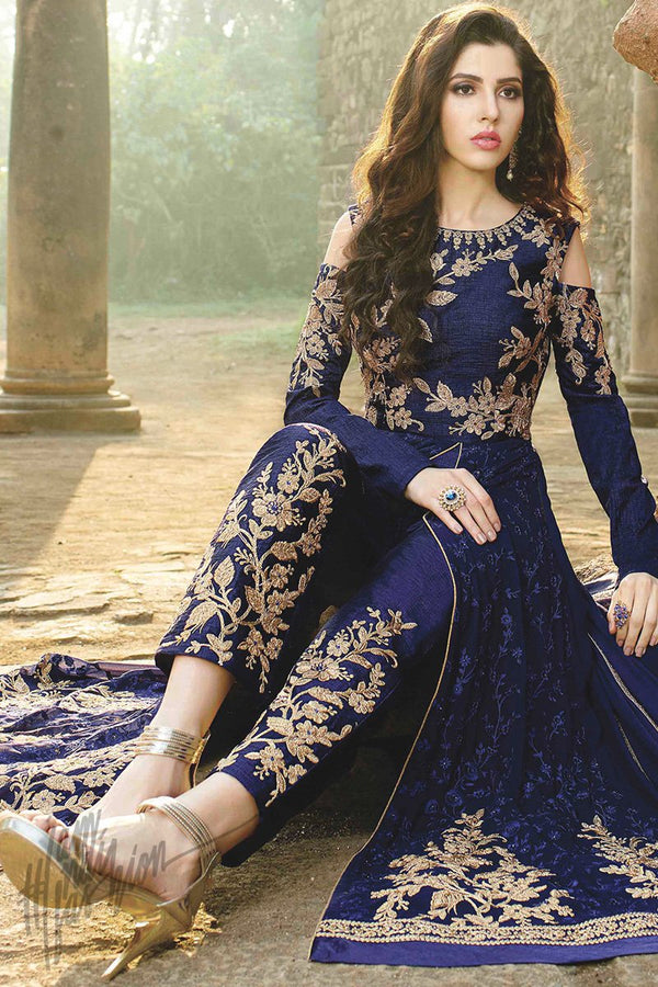 Indi Fashion Blue and Gold Net Floor Length Party Wear Suit