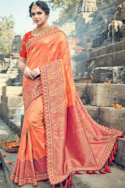 Indi Fashion Peach and Red Banarasi Silk Saree