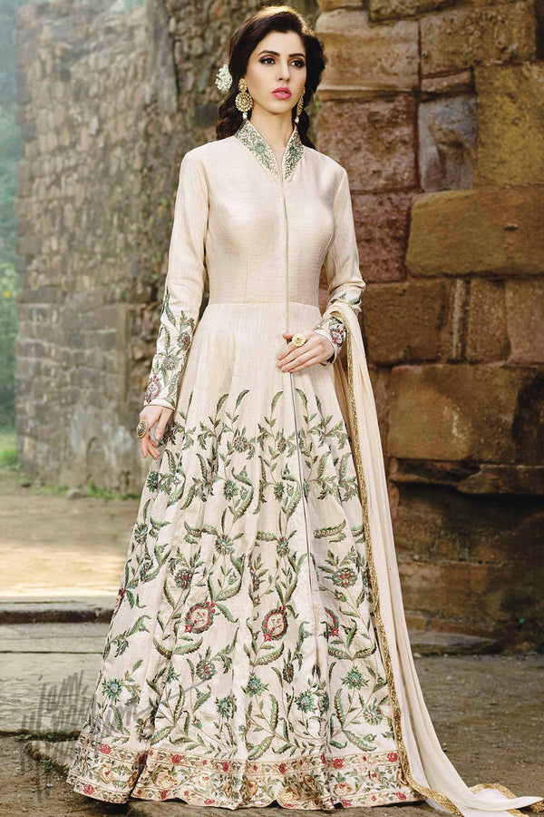 Indi Fashion Off White Silk Floor Length Party Wear Suit