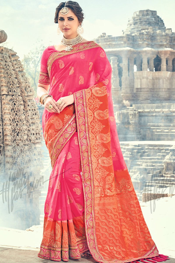Indi Fashion Pink and Red Banarasi Silk Saree