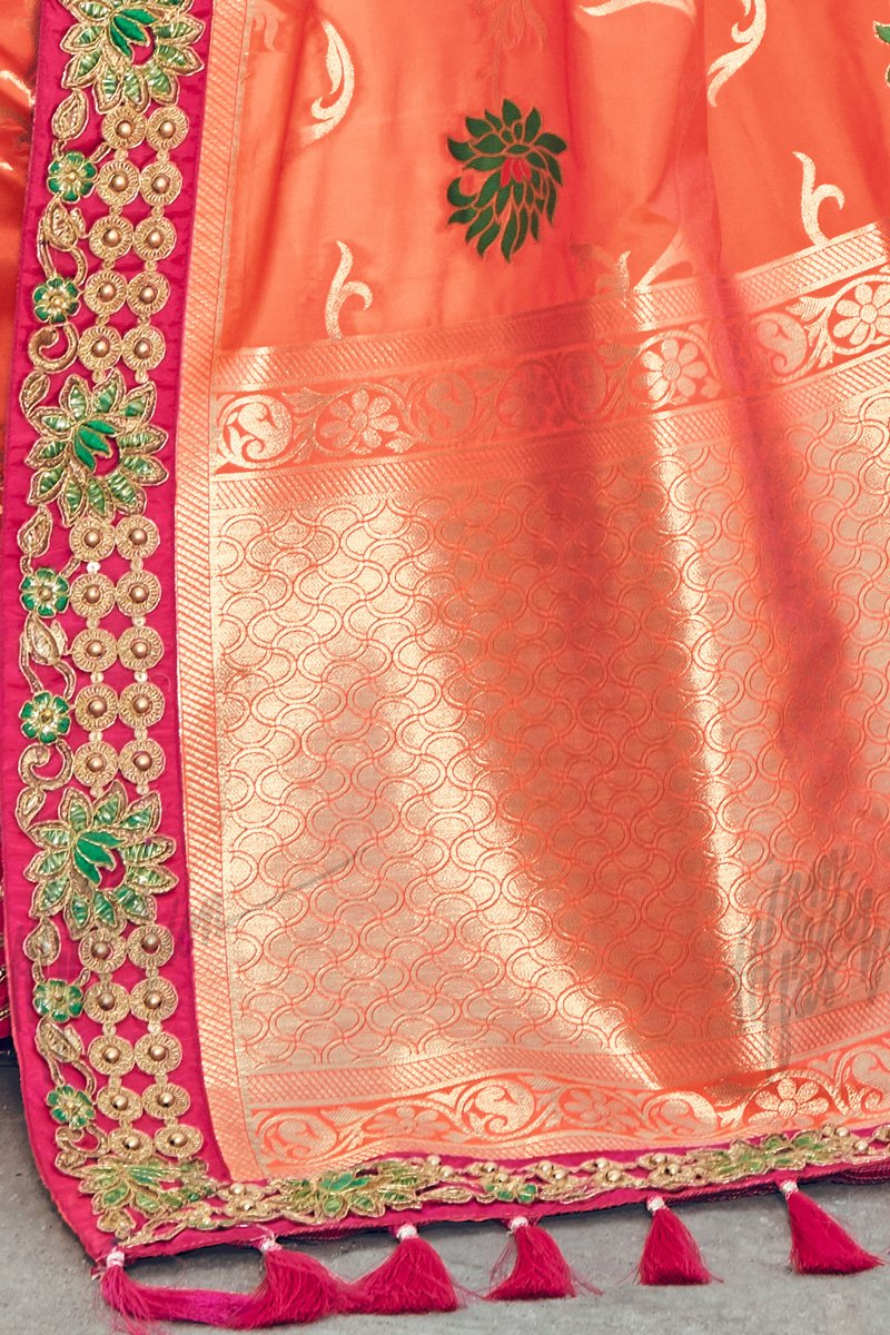 Indi Fashion Rust and Magenta Banarasi Silk Saree