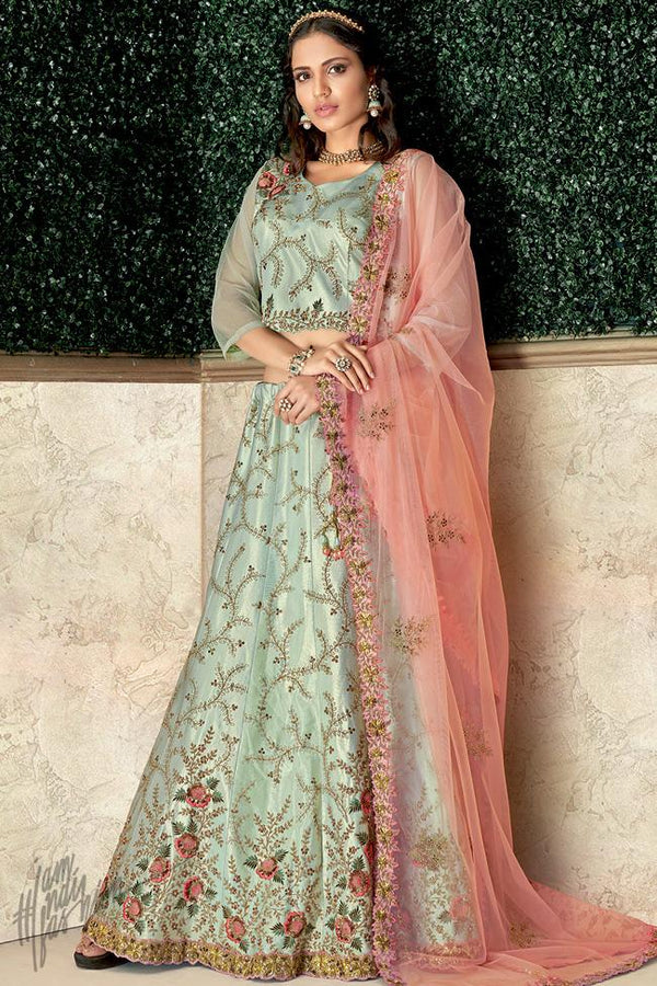 Pastel Green and Peach Taffeta Silk Lehenga Set