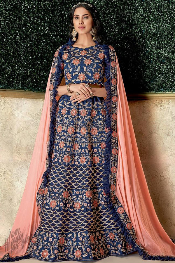 Blue and Peach Silk Lehenga Set