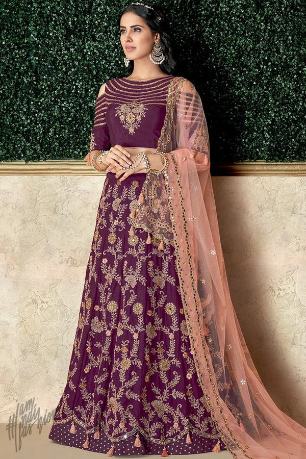 Wine and Peach Silk Lehenga Set