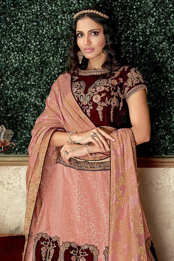 Peach and Maroon Brocade and Velvet Lehenga Set
