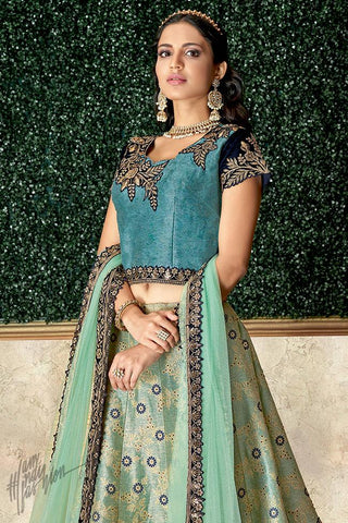 Blue and Green Jacquard Silk Lehenga Set