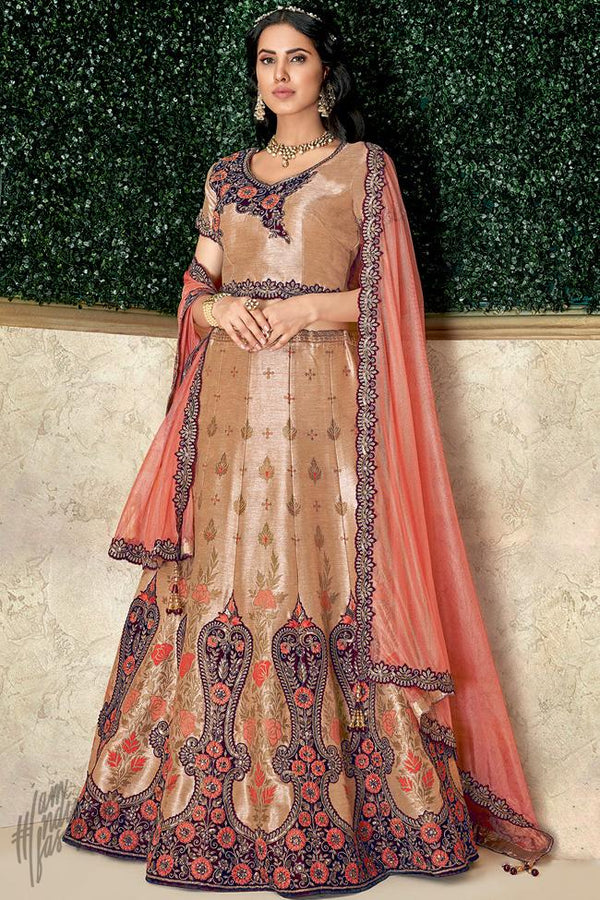 Golden Beige and Peach Weaving Silk Lehenga Set