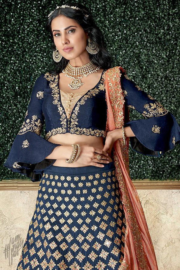 Blue and Peach Taffeta Silk Lehenga Set