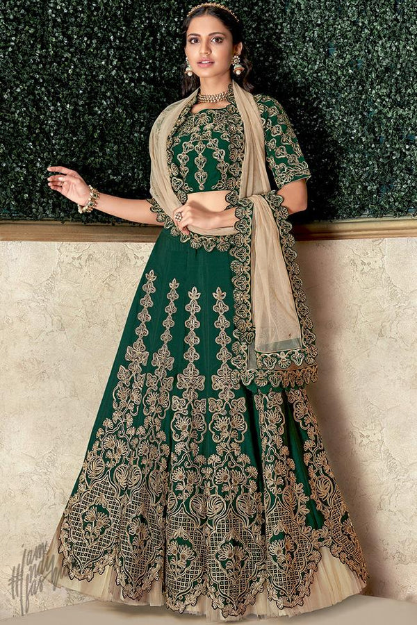 Green and Beige Satin Silk Lehenga Set