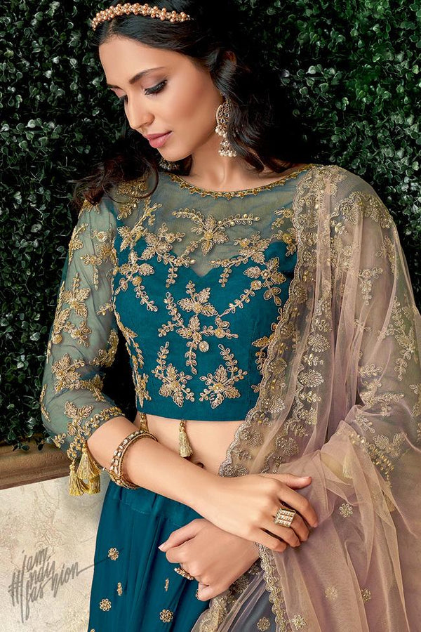 Teal Blue and Pink Satin Silk Lehenga Set