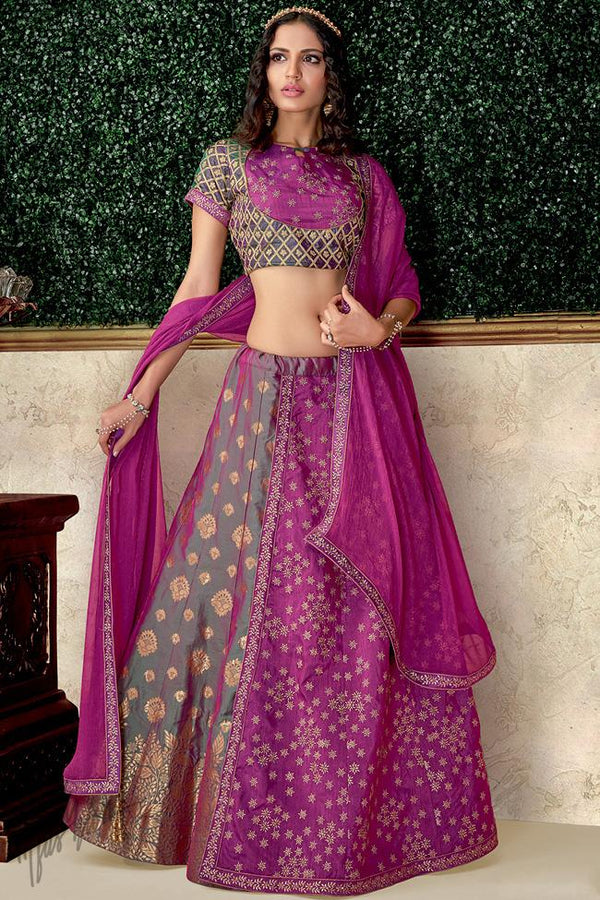 Magenta and Green Brocade and Raw Silk Lehenga Set