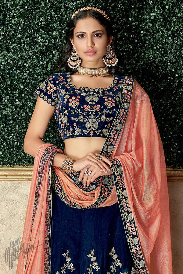Blue and Peach Velvet Lehenga Set