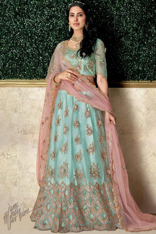 Sky Blue and Pink Taffeta Silk and Net Lehenga Set