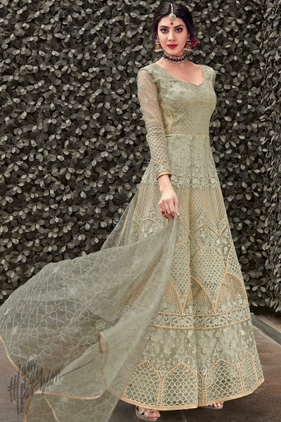 Grayish Olive Green Net Anarkali Suit