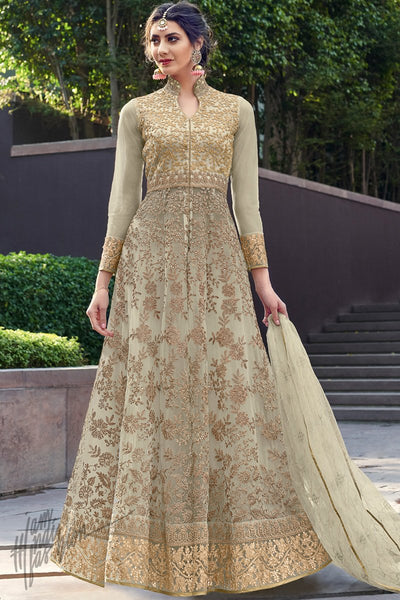 Grayish Pale Green Net Anarkali Suit