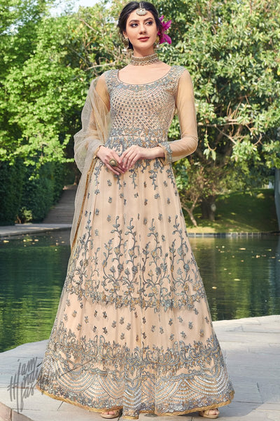 Pale Camel Net Anarkali Suit