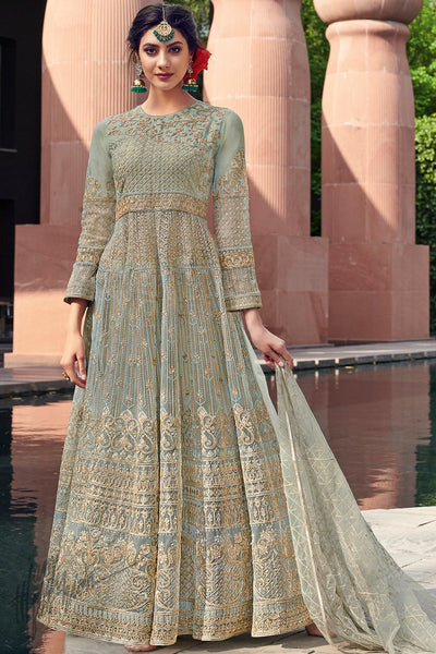 Verona Blue Net Anarkali Suit