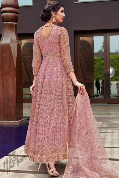 Onion Pink Net Anarkali Suit