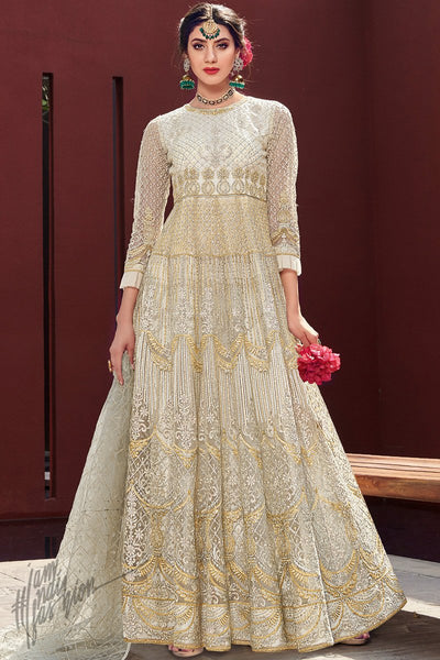 Pearl White Net Anarkali Suit