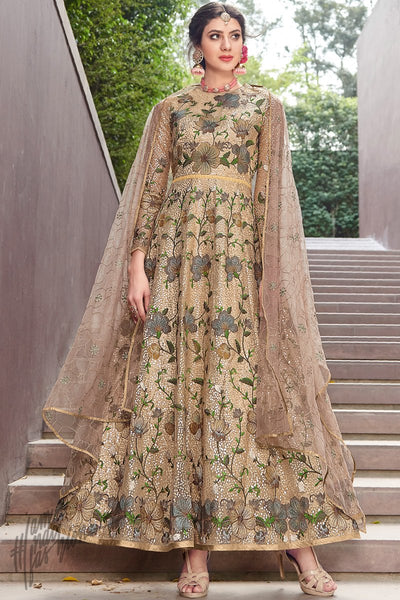Pale Gold Net Anarkali Suit
