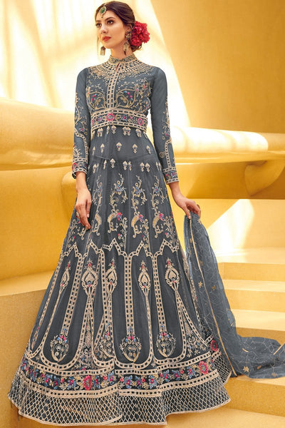 Blue Gray Net Anarkali Suit