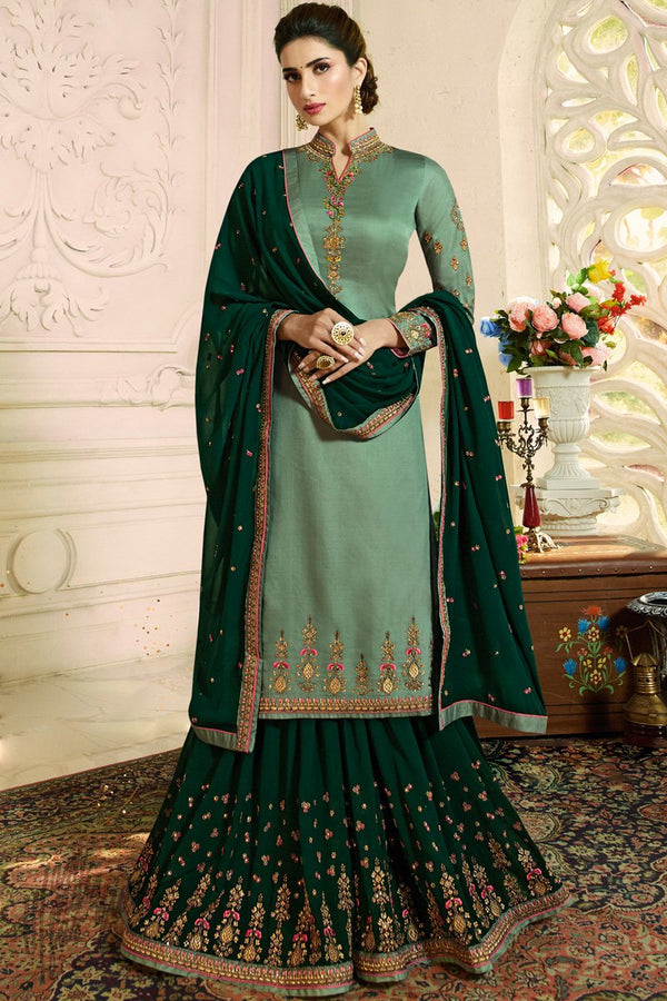 Sage and Forest Green Satin Georgette Palazzo Suit
