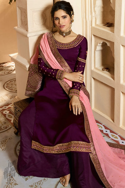 Wine and Pink Satin Georgette Palazzo Suit