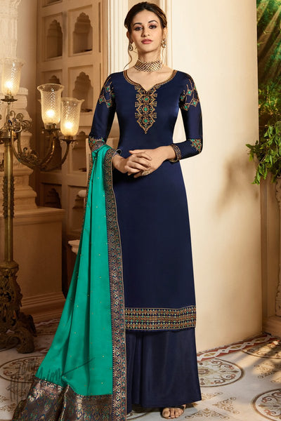 Navy Blue and Green Satin Georgette Palazzo Suit