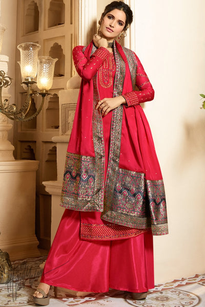 Red Satin Georgette Palazzo Suit