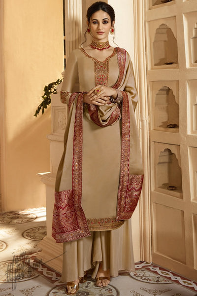 Brown Satin Georgette Palazzo Suit