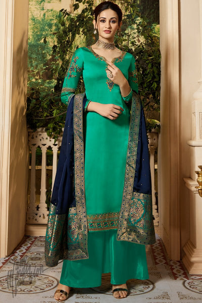 Green and Blue Satin Georgette Palazzo Suit