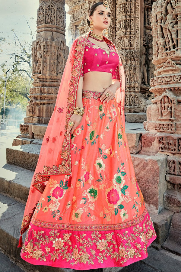Indi Fashion Peach and Magenta Wedding and Festive Lehenga Set