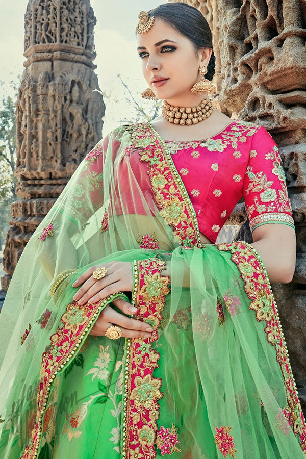 Indi Fashion Parrot Green and Magenta Wedding and Festive Lehenga Set