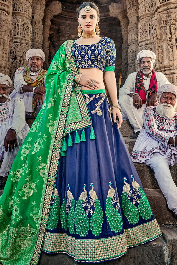 Indi Fashion Blue and Green Wedding and Festive Lehenga Set