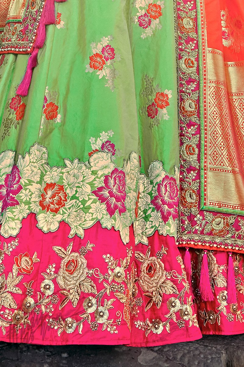 Indi Fashion Green Orange and Magenta Wedding and Festive Lehenga Set