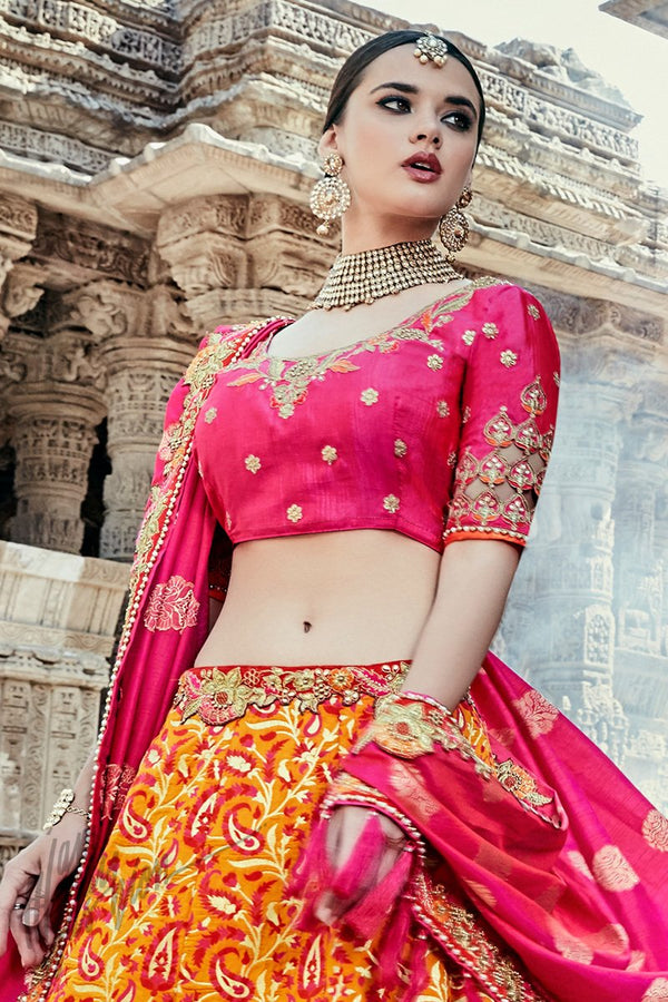 Indi Fashion Mustard Yellow and Magenta Wedding and Festive Lehenga Set
