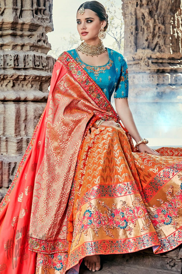 Indi Fashion Orange Tomato Red and Blue Wedding and Festive Lehenga Set