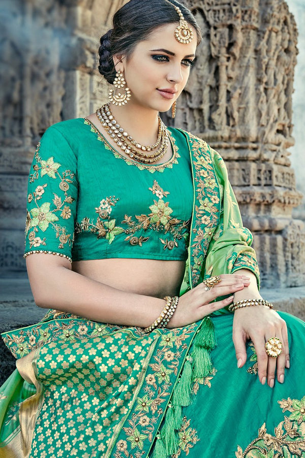 Indi Fashion Green Wedding and Festive Lehenga Set