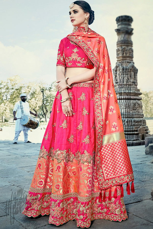 Indi Fashion Magenta and Peach Wedding and Festive Lehenga Set