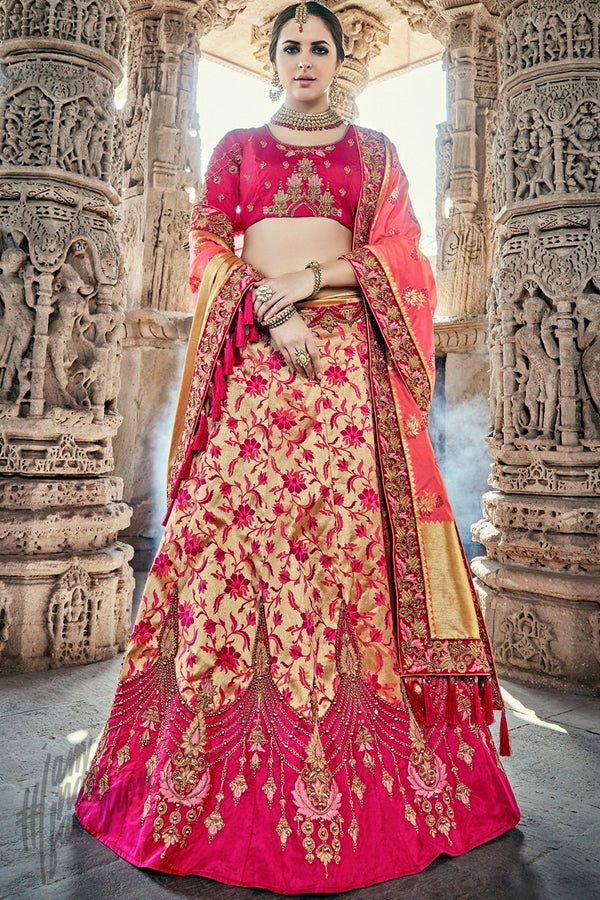 Indi Fashion Gold Magenta and Peach Wedding and Festive Lehenga Set