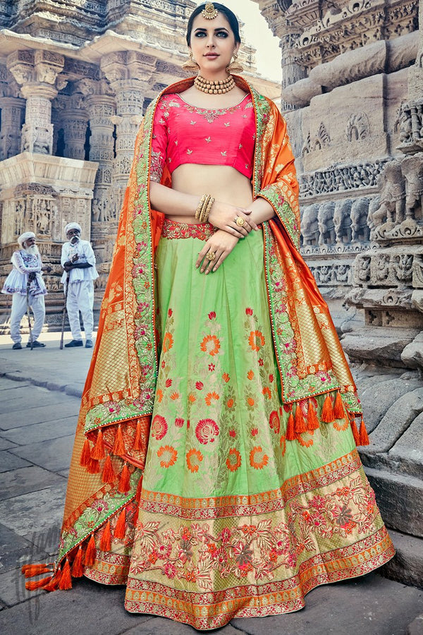 Indi Fashion Green Pink and Orange Wedding and Festive Lehenga Set