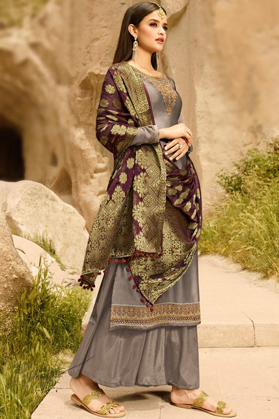 Gray and Wine Satin Georgette Palazzo Suit