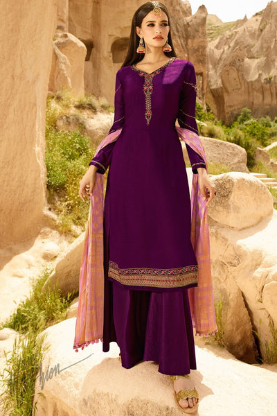 Jam Purple and Onion Pink Satin Georgette Palazzo Suit