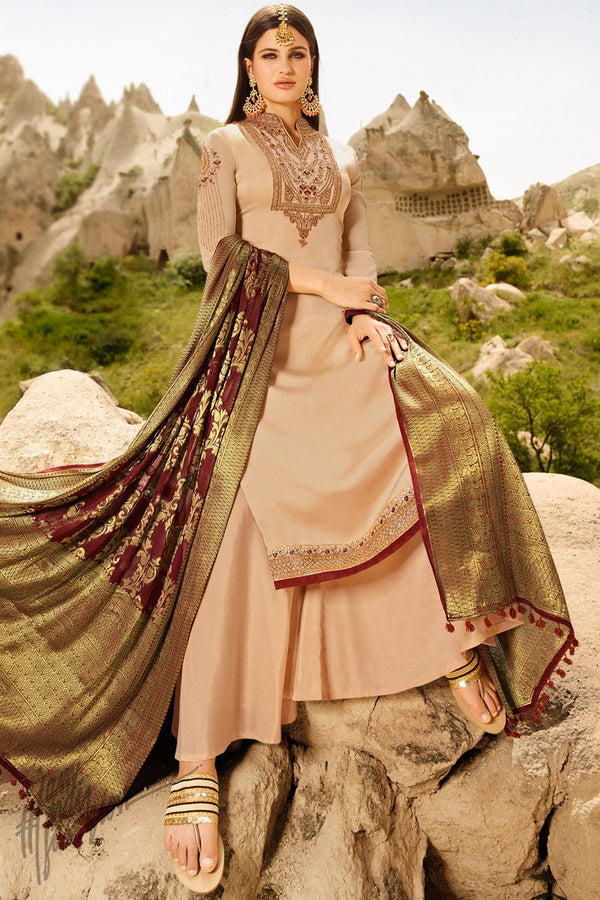 Light Peach and Wine Satin Georgette Palazzo Suit