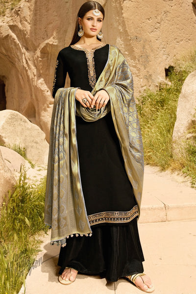 Black and Gray Satin Georgette Palazzo Suit